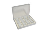 Gem Tray with 12 Boxes, White, Item No. 61.463