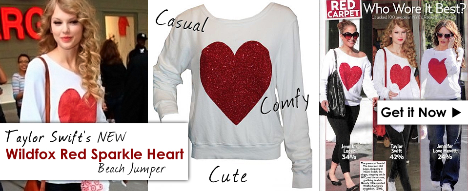 Wildfox Red Sparkle Heart Baggy Beach Jumper