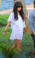Jen's Pirate Booty Poncho Villa Ruffle Dress with White Ribbon Trim