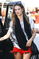 Wildfox Friday Night Shorts in Red as seen on Alessandra Ambrosio