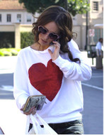 Wildfox Red Sparkle Heart Baggy Beach Jumper as seen on Jennifer Love Hewitt