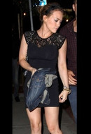 David Lerner Lace Tank Dress in Black as seen on Hillary Duff