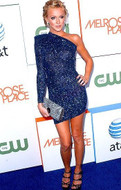Brian Lichtenberg One Shoulder Padded Dress in Blue Glitter as seen on Paris Hilton and Katie Cassidy