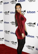 Brian Lichtenberg One Shoulder Padded Dress in Red Leopard Velvet as seen on Kim Kardashian