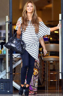 Brian Lichtenberg White/Gray Big Stripe Grecian Top as seen on Kim Kardashian