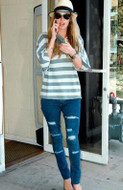 Jet by John Eshaya Thrasher Skinny Jean in Dark Clean as seen on Nicky Hilton