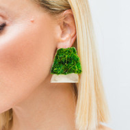 Isabel Englebert + Plant the Future Silver Earrings - Moss Trapezoid
