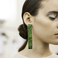 Isabel Englebert + Plant the Future Silver Earrings - Moss Rectangle