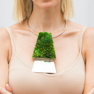 Isabel Englebert + Plant the Future Silver Necklace - Moss Trapezoid Duo