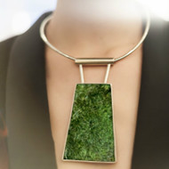 Isabel Englebert + Plant the Future Silver Necklace - Moss Trapezoid Single MADE TO ORDER