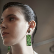 Isabel Englebert + Plant the Future Silver Earrings - Moss Rectangle Pendant MADE TO ORDER