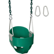 Swing Set Stuff Inc. Highback Full Bucket Swing with 8 1/2ft Coated Chain Premium Fun Green Blue Yellow Red and Pink