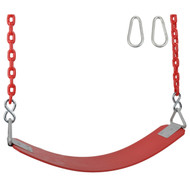 Swing Set Stuff Inc. Commercial Rubber Belt Seat with 8.5ft coated chain Outdoor Attachment Green Blue Yellow Red and Pink