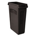 Rubbermaid® Commercial Slim Jim® Receptacle  with Venting Channels, Black, 23 Gallon