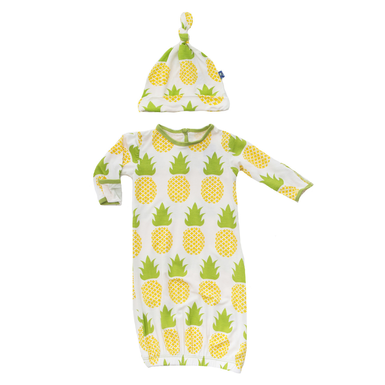 KicKee Pants Newborn Layette Gown & Hat Outfit Set-Neutral Baby ...