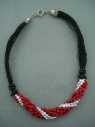 Black and White Coral Beads on Black String