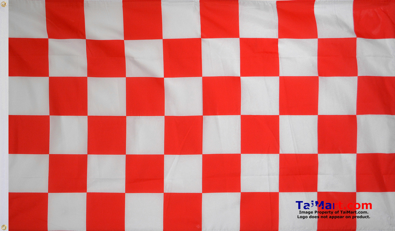 Red /& White Chequered Racing Polyester Flags