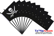 """Excellent value 10 pack of 6x9"""" Jack Rackham Pirate hand flags on 30cm sticks."""