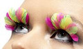 Pink and Yellow Neon Feather Eyelashes