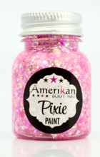 """Pretty in Pink"" Pixie Paint is a blend of different sizes of holographic white and pink glitters, silver stars, and various holographic white chunky glitters.  Depending on how the light hits, you can also see shades of purple, gold, green, and copper."