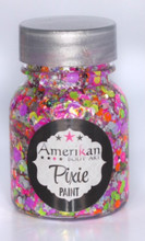 Valley Girl Pixie Paint is a blend of chunky sizes of blacklight reactive glitters with a mix of silver and holographic glitters.  It looks great in daylight or under blacklight.