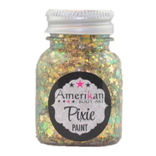 LuckyStar Pixie Paint by Amerikan Body Art is a warm blend of fiery iridescence and golden stars.