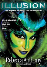 Illusion 11 $29.95 Cover artist Rebecca Anthony will astound you with her creativity and her breathtaking brush work, plus Ezia Leach, Nick and Brian Wolfe & Mark Reid , while  Pashur shares with Illusion a beautiful step by step eye design.   Under the spotlight, we have Leroy Roper, an incredible back drop painter, body artist and photographer.   Plus all the regular articles that you've come to expect from the Illusion team. In this issue's Get Technical, Helen Eyre explains how to achieve perfect symmetry to designs while in The Art of Business Fionna Doney gives plenty of advice how to keep a client – perfect advice in the current economy.