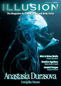 Illusion 12 $29.95 Cover artist Anastasia Durasova shows her creative artwork and underwater body art illusions.  Spotlight artist Heather Aguilera shares her powerful spiritual art  Step by Step Rainbow Unicorn designs, FABAIC 2010 Review, Extreme beauty by Anabel Vargas and so much more!