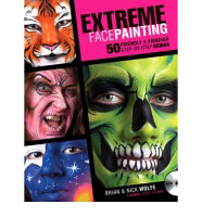 Extreme Facepainting by Brian & Nick Wolfe $34.95 The first half of this larger soft cover book features , friendly transitions, such as birds and butterflies, giraffes and lions, princesses, knights and flowers. Part two is the fiendish faces including vampires, werewolves, zombies, gargoyles , witches and orcs. Instruction from two award-winning artists  50 step by step projects ranging from simple to more advanced  Easy instructions from twin award winning Artists  Designs include popular kid and adult themes for parties, performances, Halloween and other occasions  Expert techniques for painting remarkably realistic textures, making human features virtually disappear, creating the look of age and other surprising, fool-the-eye effects  Full of friendly instruction for beginners and fresh inspiration for seasoned painters, this book will help you make art as original as the face that is painted! PLUS a free DVD!
