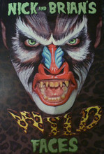 This is a great new book by the world champion face and body painters, Nick and Brian Wolfe.  16 Awesome Animal Face designs in full colour step by step photos.  Designs include :- Mandrill, Bull/ cow , Piglet, Horse , Husky Dog  Elephant , Lion , Teddy Bear , Shark , Squirrel  Tree frog , Sea horse , Parrot /Maccaw , Rooster , Sea Turtle (this is one of my favourites- very realistic and very cool) , Tiger Beetle  Komodo Dragon (this would make an awesome Dragon Face / monster Face as well)