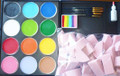 Palette with 12 x 32g Regular paints Black, White,  Red, Pink, Lilac, Orange, Yellow, Mid Brown,  Light Green, Mid Green, Light Blue & Mid Blue.                                  $112.00 1 x  Regular Rainbow 50g                                                                  $ 16.00  2 x #1, #4 & #6 Roymac Round brushes  & Filbert #12                        $ 40.00 2 x  Holographic Glitter- Silver & Gold                                                 $ 11.90 50 sponges                                                                                       $30.00 Total Value   $209.90     for      $189.90      $20.00 discount
