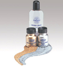 click here to add a descriptionMixing Liquid by Mehron 133ml. Shown here with Gold and Silver Metallic Powders.