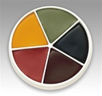 Contains 5 colours:- Bloody Rose, Midnight Sky, Burnt Maroon, Spanish Olive and Maize Yellow. This is a Grease Paint and can be removed with Baby oil or Makeup remover.