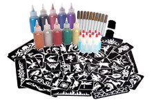 This kit includes everything you need to get started!  850 Stencils (10 of each design on Poster)  Full Size Stencil Poster (46cm x 138cm)  10 x 15ml Glitters in easy to use Puffer Bottles  10 x 60ml Glitter refills  10 x 8ml Prosade Cosmetic Glue in Applicator vial  2 x Sweeper Brushes  Easy to follow instruction sheet  Great value!