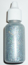 Stunning Holographic Silver Glitter Gel with metal applicator tip for fine lines and dots 15ml