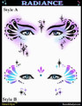 Mehron Airbrush Stencils created by world renowned face and body artist Donna Nowak.  Use these templates with LUX Airbrush makeup for quick and easy professional looking designs every time.  These professional quality templates are washable and re-usable.  5-styles to choose from - Peanut, Queen A-Nura, Sweet Pea, Voodoo & Radiance.