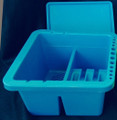 Square blue brush wash tub with 3 sections