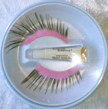 Extra Long Pink with Black Tip Eyelashes with adhesive