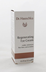 Dr. Hauschka Regenerating Eye Cream 0.5oz/15ml  Minimizes fine lines and wrinkle.  Refine and support mature skin.  Absorbs quickly, can be applied prior to make-up.  Made in Germany.