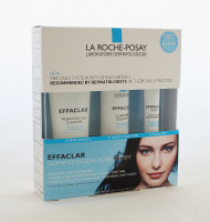 La Roche Posay Effaclar Dermatological Acne System Set Of 3.  Includes: Medicated Gel Cleanser(3.4oz)                Clarifying Solution(3.4oz)                Dual Action Acne Treatment(0.7oz)  Targets the 3 major causes of ance as bserved by dernatologists in their daily practice:  -Excess oil.  -Clogged pore.  -Acne bacteria.  Instruction: Use each product, one a day during the 1st week.                   Twice a day during the next following week.