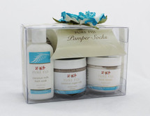Pure Fiji Pedicure Box Coconut Set of 4.  This set include:  -Coconut milk Bath Soak help feet soften.  -Coconut Sugar Rub gently remove dead skin cells.  -Body Butter massages onto feet and apply socks.  -Body Lotion massage into calves and feet for the ultimate finishing touch to your pedicure.  Made in Fiji.