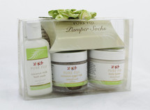 Pure Fiji Pedicure Box Startfruit Set of 4.  This set include:  -Coconut milk Bath Soak help feet soften.  -Coconut Sugar Rub gently remove dead skin cells.  -Body Butter massages onto feet and apply socks.  -Body Lotion massage into calves and feet for the ultimate finishing touch to your pedicure.  Made in Fiji.