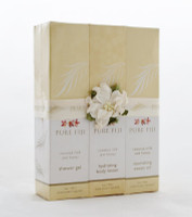 Pure Fiji 3 Pack Gift Pack Coconut Milk and Honey.  Gift set of three luxuries Pure Fiji products including:  -Hydrating body Lotion 3oz.  -Exotic body oil 3 oz.  - Shower gel 3 oz.  Made in Fiji.