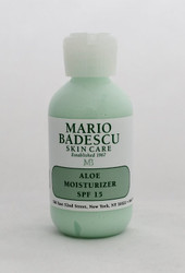 Mario Badescu Aloe Moisturizer SPF 15, 2 oz.   Soothe, Moisturize, and Protect. Daily, lightweight moisture and sun protection all-in-one. Oil-free and Aloe based for soothing, non-clogging hydration and protection.   Instruction: Apply on clean skin before sun exposure and daily all over face, avoiding eye area. Re-apply frequently to maintain protection and after perspiring or swimming. May be used under make-up or alone.