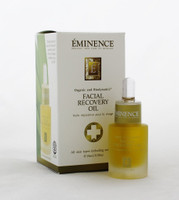 Eminence Facial Recovery Oil 0.5oz  Luxurious age-defying facial oil created with precious herbs to pamper, tone and deeply hydrate sensitive, aging skin.  Instruction: Apply 2-3 drops to face and neck with circular motions working your way from the center to the sides of the face.