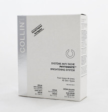 G.M Collin Phytowhite Brightening System For Hyperpigmentation / All Skin Types.   G.M. Collin PhytoWhite Brightening System is specially formulated to visibly reduce the appearance of dark spots, hydrate, brighten and protect the skin from UV damage. The complexion becomes clearer and uniform. G.M. Collin PhytoWhite Brightening System contains: • G.M. Collin PhytoWhite Dark Spot Serum - 0.68 oz • G.M. Collin PhytoWhite Cream - 1.7 oz • G.M. Collin Mineral Sun Cream SPF 25 - 1.7 oz  Features / Benefits: • Visibly reduces the appearance of dark spots. • The complexion becomes clearer and uniform. • Skin is hydrated, nourished and brightened. • Skin is shielded from sun damage with broad spectrum UVA/UVB sun protection.  Instruction: • Morning and evening, after cleansing, apply the serum to dark spots only. • Morning and evening, after applying serum, apply the cream over the entire face. • Morning, after applying serum and cream, apply SPF.