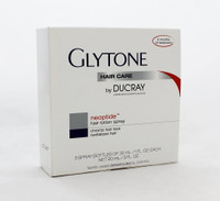 Glytone Neoptide Hair Lotion Spray, 3oz  NEOPTIDE Hair Loss Lotion spray is formulated specifically to reduce the appearance of hair loss in women. Hair growth and hair renewal are determined by the activity of hair follicles, capable of generating 20 to 25 successive life cycles. In chronic hair loss, each life cycle* is shorter than the previous one. Hair diameter and hair length at the end of the hair's life cycle decline. The hair follicle arrives more rapidly at the final stage of programmed cycles. Chronic hair loss takes hold and becomes diffuse with an overall reduction in hair density.  With a proprietary blend of vitamin B3, amino acids and botanicals, NEOPTIDE nourishes and supports devitalized, thinning hair. The association of Neoruscine, Nicotinamide, and GP4G facilitates optimal nutritional exchange in the hair bulb and provides an energy-activating role.** Hair is stimulated, thus reducing the appearance of hair loss and simultaneously boosting hair mass. The light texture of NEOPTIDE is easily absorbed and enables daily use without greasing hair.  Each box contains a 3 month treatment.