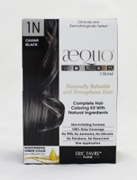 AEQUO Color Cream 1N Caviar  Size: 5.6oz/160ml  Naturally Rebuilds and Strengthens Hair  Complete Hair Coloring Kit With Natural Ingredients  Non-Irritating Formula  100% Grey Coverage  No PPD, No Amonia, No Silicone, No Parabens, No Resorcinol  One Application     Instruction:  Mix the colorant cream with the color devolper in the application bottle. Shake the mixture for 2 minutes until totally blended. Immediatly apply the total mixture on dry hair. Wait for 20 minutes. Rinse hair with a lot of water until it runs clear, then wash your hair with the color fixing shampoo. Spray the Restructuring Serum on damp hair to seal in the color and complete the process. Use 2 to 3 times a week between coloration.