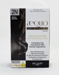 AEQUO Color Cream 2N Sable Brown  Size: 5.6oz/160ml    Naturally Rebuilds and Strengthens Hair  Complete Hair Coloring Kit With Natural Ingredients  Non-Irritating Formula  100% Grey Coverage  No PPD, No Amonia, No Silicone, No Parabens, No Resorcinol  One Application      Instruction:  Mix the colorant cream with the color devolper in the application bottle. Shake the mixture for 2 minutes until totally blended. Immediatly apply the total mixture on dry hair. Wait for 20 minutes. Rinse hair with a lot of water until it runs clear, then wash your hair with the color fixing shampoo. Spray the Resturcturing Serum on damp hair to seal in the color and complete the process. Use 2 to 3 times a week between colorations.