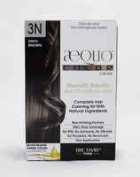 AEQUO Color Cream 3N Onyx Brown  Size: 5.6oz/160ml     Naturally Rebuilds and Strengthens Hair  Complete Hair Coloring Kit With Natural Ingredients  Non-Irritating Formula  100% Grey Coverage  No PPD, No Amonia, No Silicone, No Parabens, No Resorcinol  One Application      Instruction:  Mix the colorant cream with the color devolper in the application bottle. Shake the mixture for 2 minutes until totally blended. Immediatly apply the total mixture on dry hair. Wait for 20 minutes. Rinse hair with a lot of water until it runs clear, then wash your hair with the color fixing shampoo. Spray the Resturcturing Serum on damp hair to seal in the color and complete the process. Use 2 to 3 times a week between colorations.